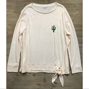 LOFT Striped Cactus Long Sleeve Top